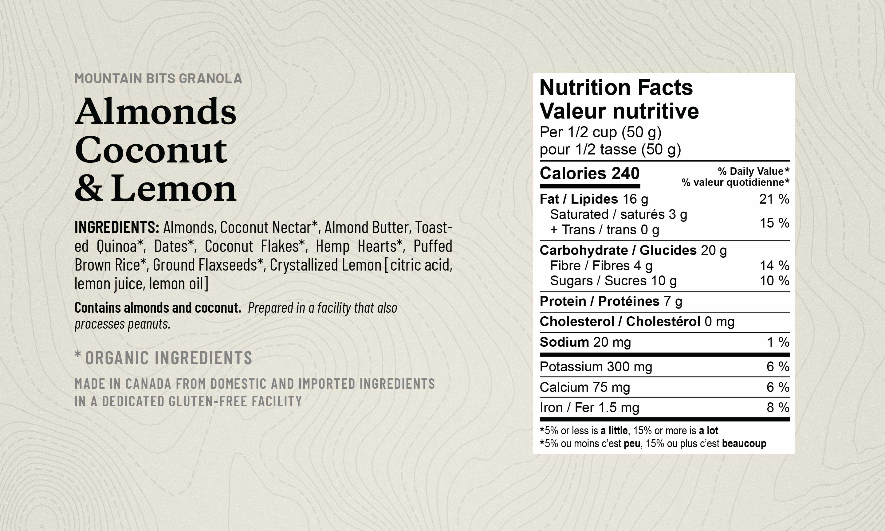 Image of Almond Coconut and Lemon Mountain Bits granola ingredient List, noting Organic Ingredients and Nutrition Table