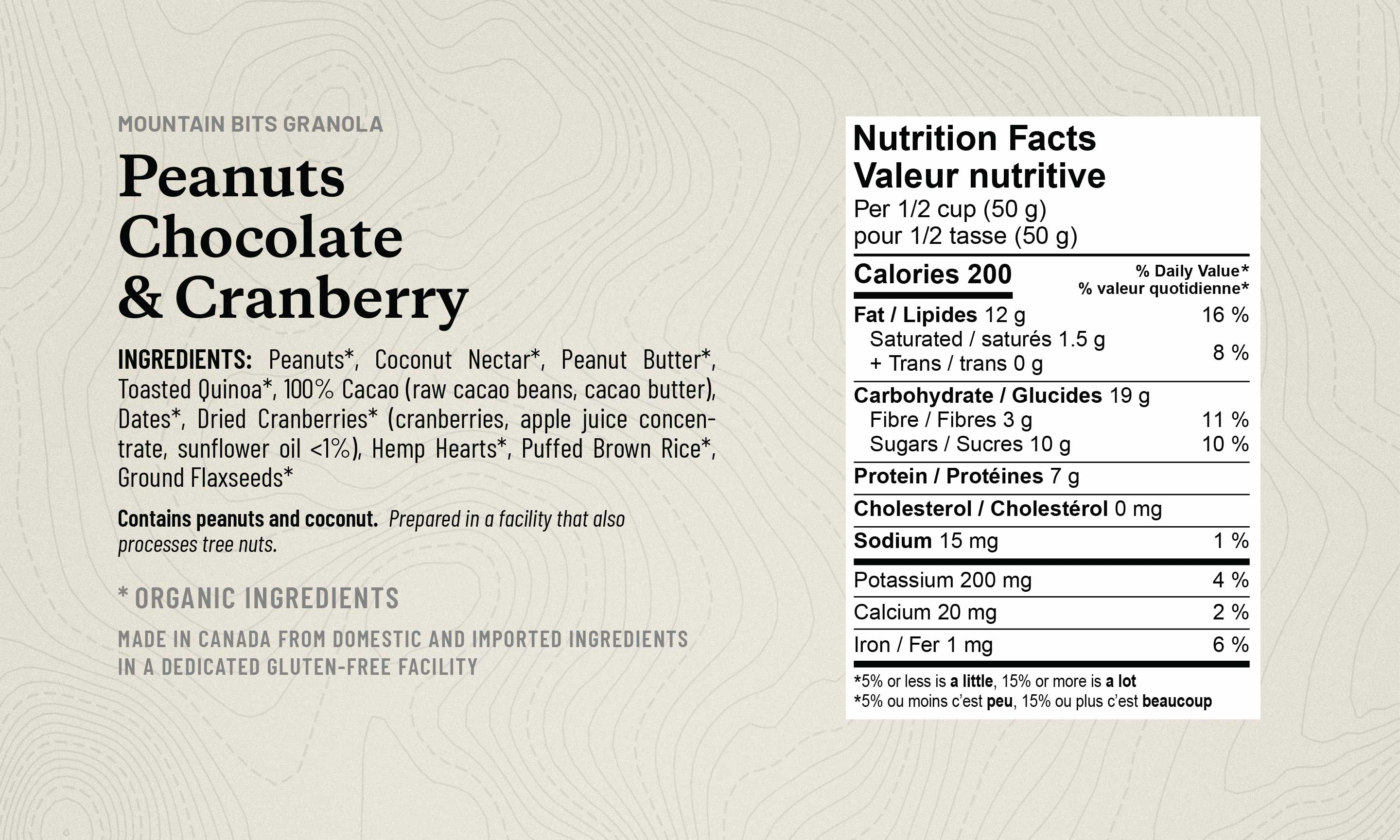 Peanut Mountain Bits granola ingredient list and nutrition facts table