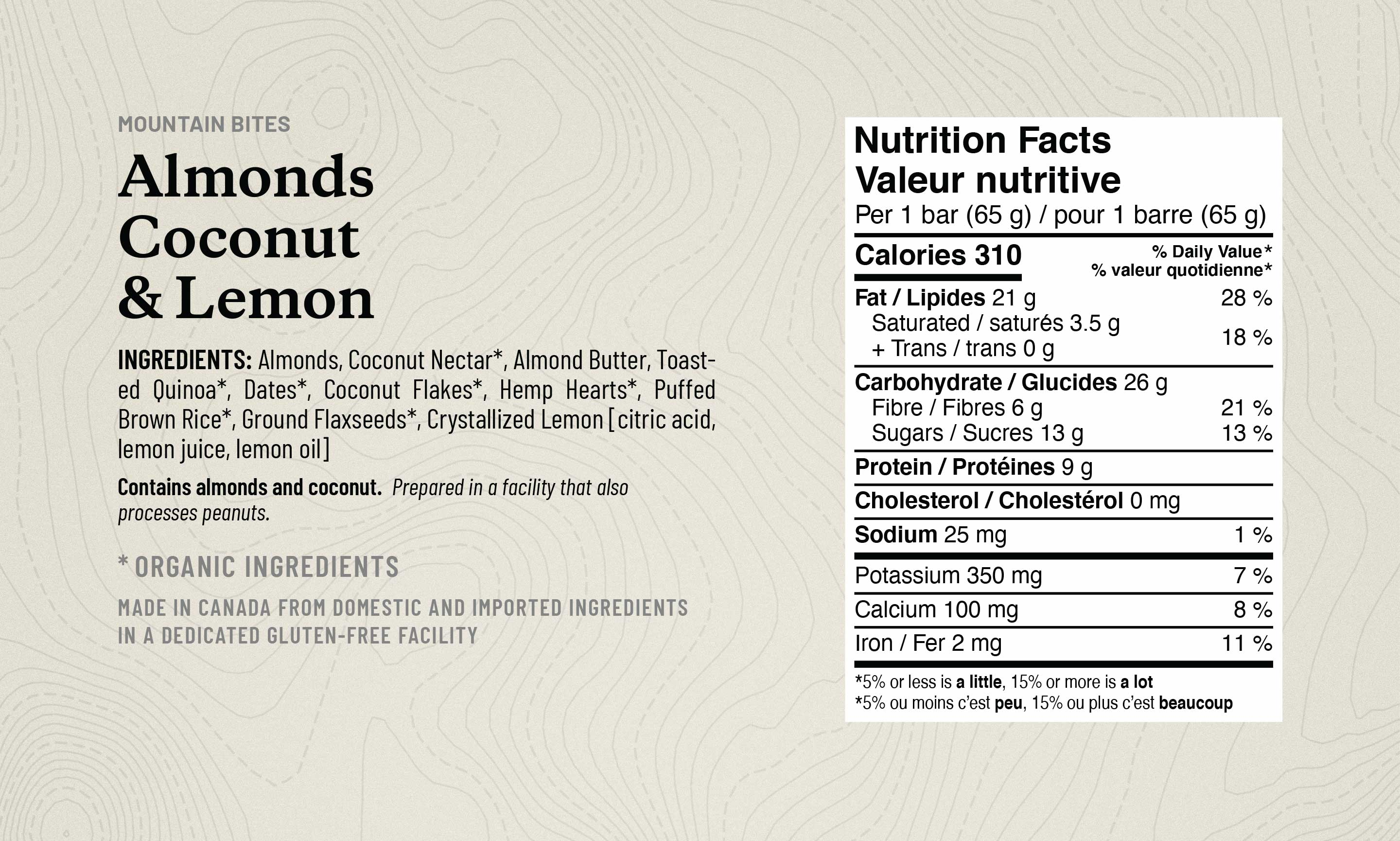 Image of Almond Coconut and Lemon Ingredient List, noting Organic Ingredients and Nutrition Table