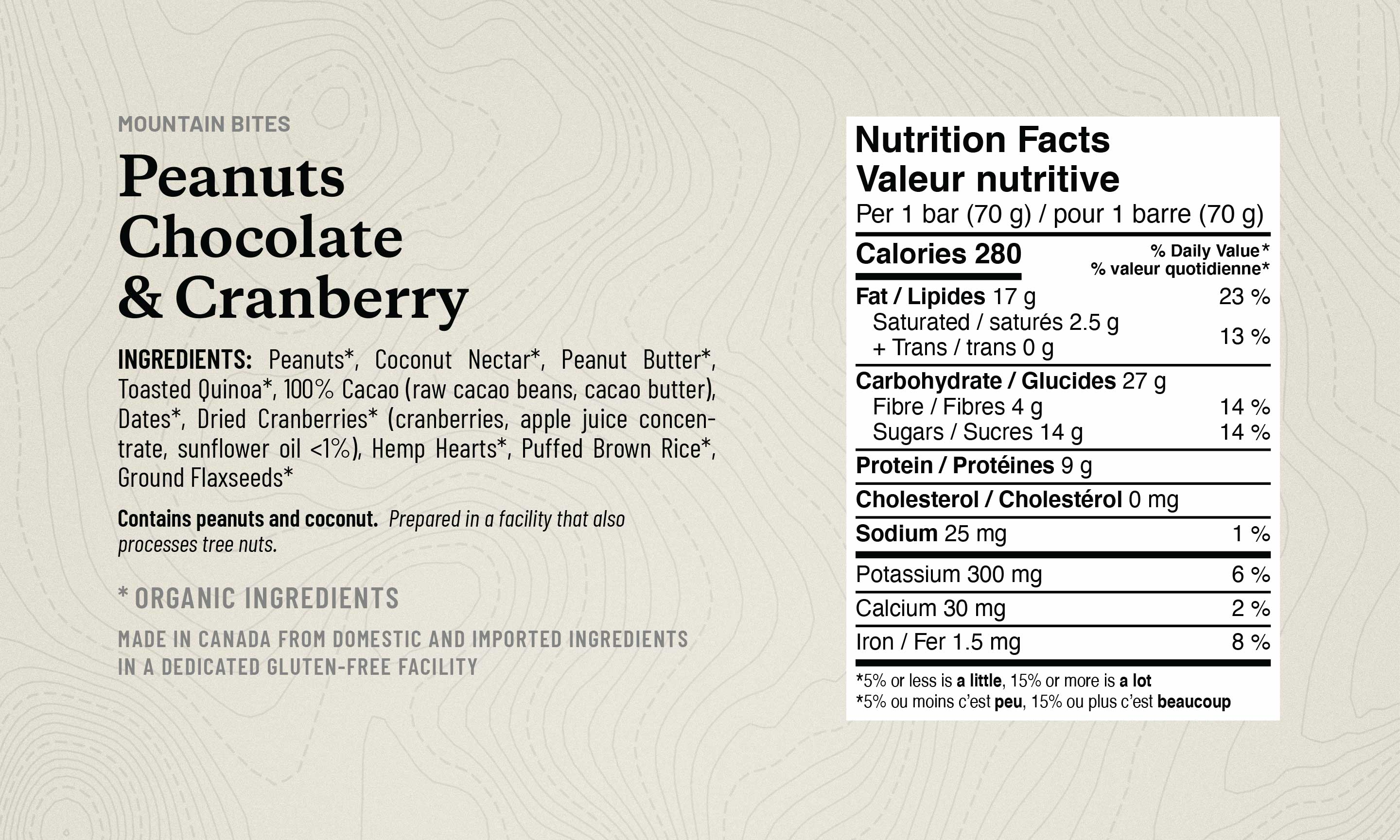 Peanut Chocolate and Cranberry Mountain Bite list of ingredients, along with the Nutrition Fact Table