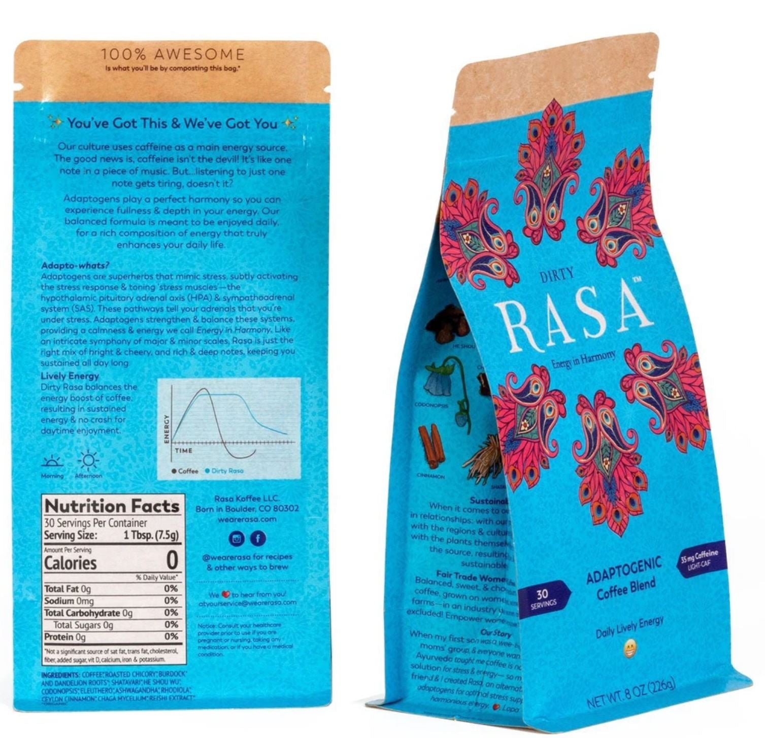 Dirty Rasa Adaptogenic Coffee Package with Back label and Nutrition Table