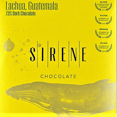 Yellow Sirene package of the Lachua, Gueatemala chocolate bar by Sirene