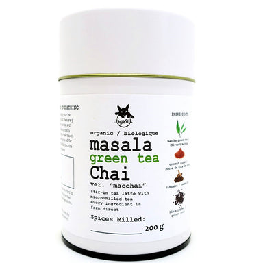 Masala Green Tea Chai Product photo in white tea tin