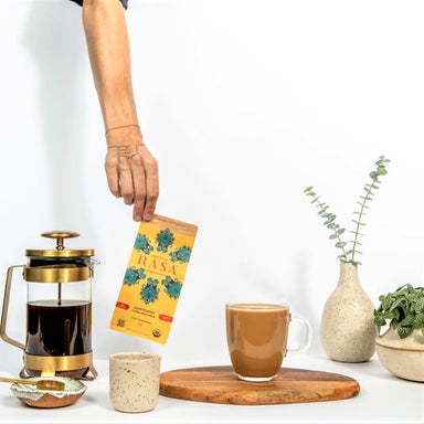Rasa Adaptogenic Coffee Alternative with French Press, Prepared Coffee and Succulent Plants