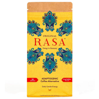 Rasa Adaptogenic Coffee Alternative Package, Yellow Kraft Bag with Bright Teal floral