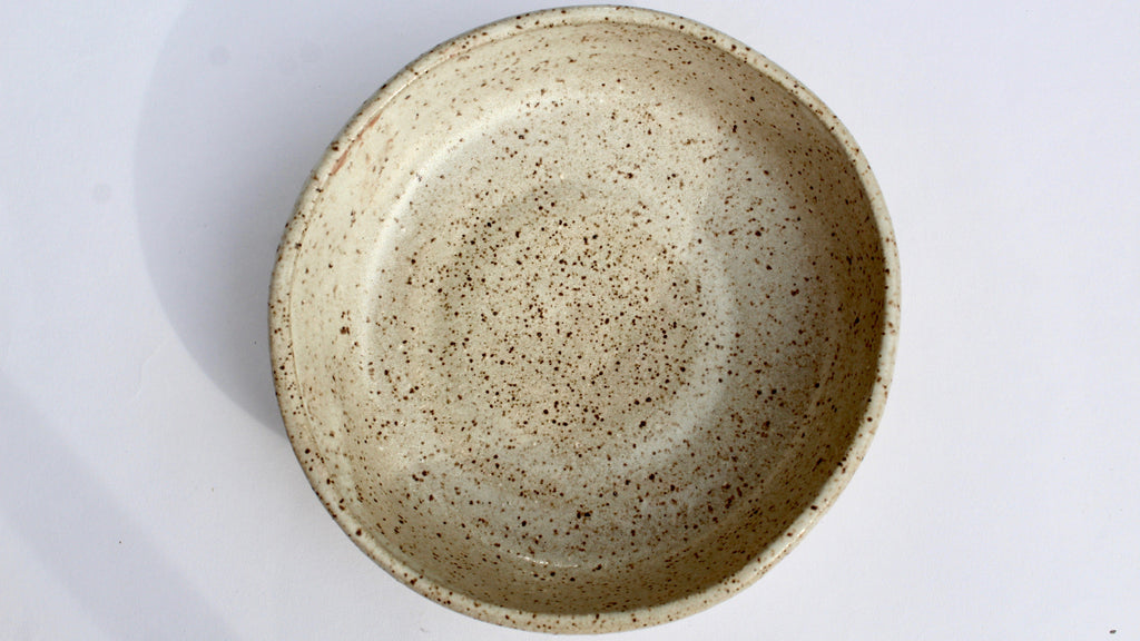 Moon bowl, speckled white