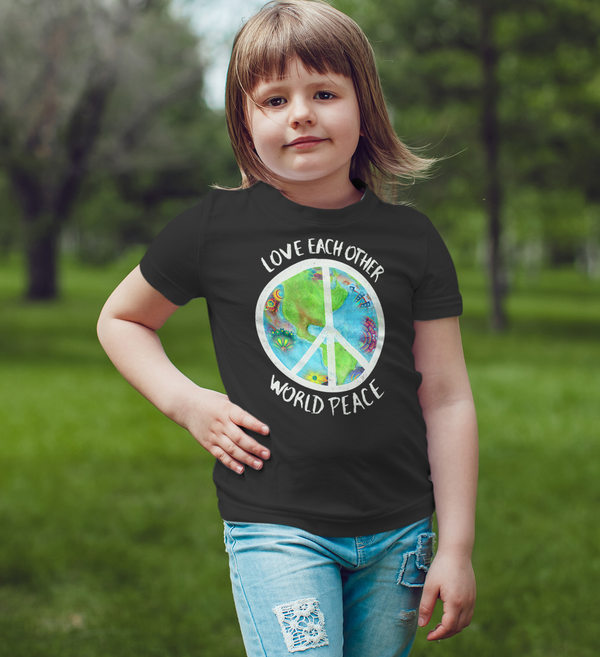 Love Each Other World Peace Kid's Tee, , LiberalDefinition
