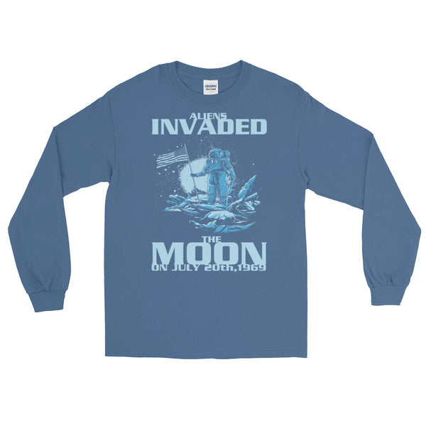 Aliens Invaded The Moon Long-Sleeved T-Shirt