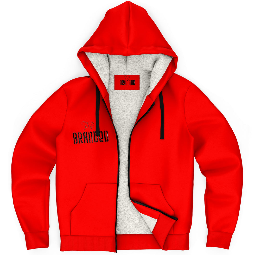 Branded Microfleece Zip-Up Hoodie (Red)