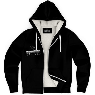 Branded Microfleece Zip-Up Hoodie (Black)