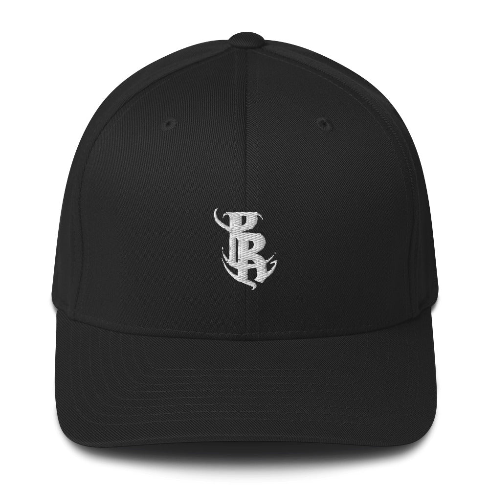 White PR Logo Fitted Caps