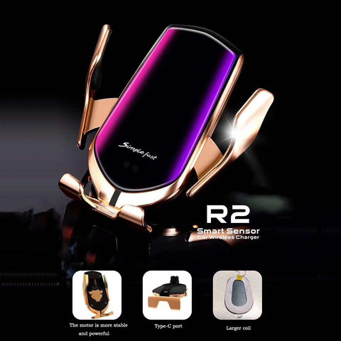 R2 Wireless Car Charger Infrared Auto Clamp Charge Mount