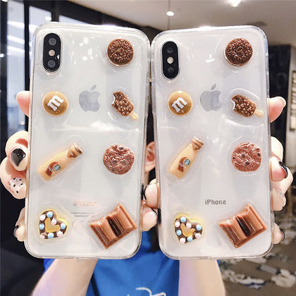 3D Vivid Chocolate Cookies Clear Phone Case for iPhone
