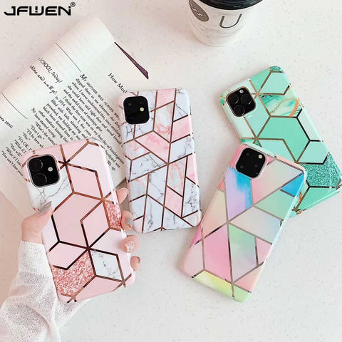 Plating Geometric Marble Case For iPhone