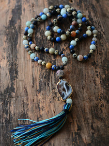 Mala Agate Natural Stone Necklace