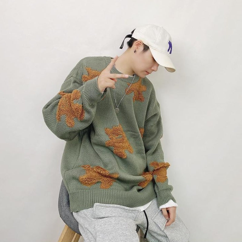 WLS Bear Patch Knit Sweater