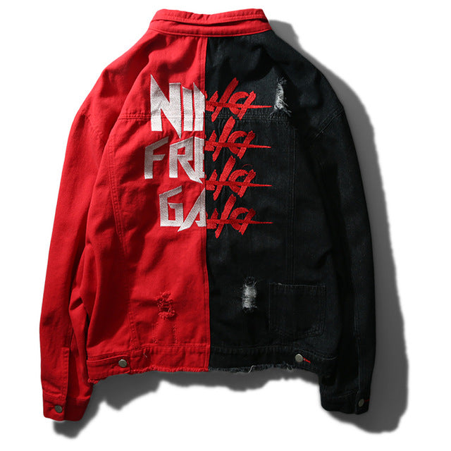 """NFG"" Embroidered Denim Jacket"