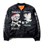 """Skull"" Embroidered Bomber Jacket"