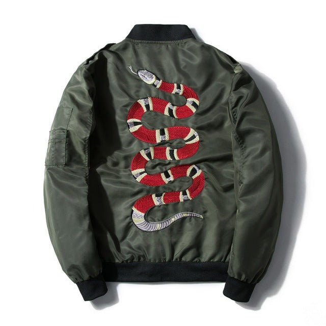 """Snake"" Embroidered Bomber Jacket"