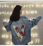 """vRose"" Embroidered Denim Jacket"