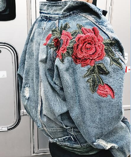 """Roses"" Embroidered Denim Jacket"