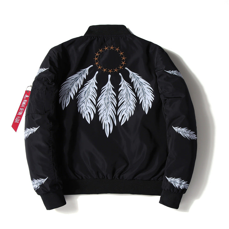 """Feathers"" Embroidered Bomber Jacket"