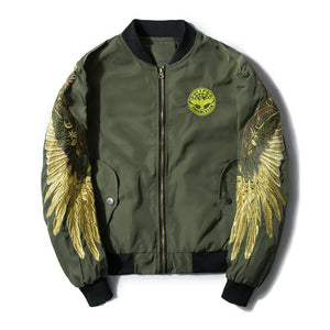 """Golden Angel"" Embroidered Bomber Jacket"