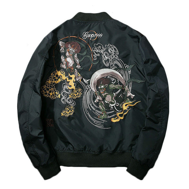 """Monster"" Embroidered Bomber Jacket"
