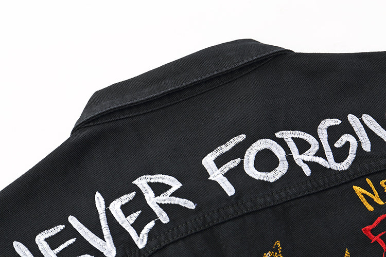 """Never Forgive"" Denim Jacket"