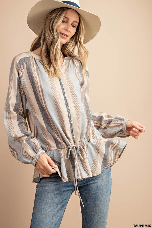 Textured Stripe Button Down