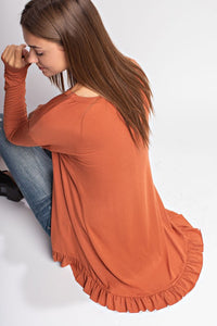 Bamboo Ruffled Hem Top - ash purple, terracotta or ginger