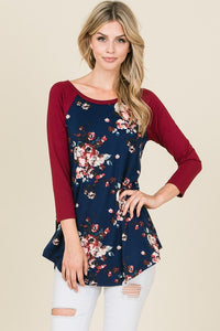 Floral Raglan Top - navy/burgundy