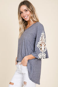 Lace Sleeve Tunic - navy heather