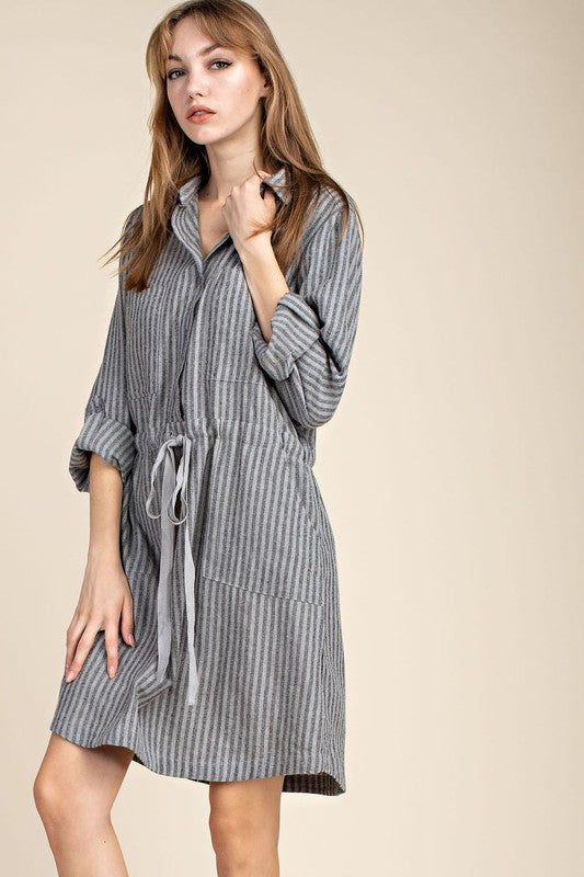 Adjustable Waist Striped Pocket Dress - grey
