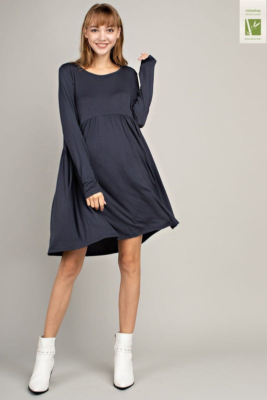 Bamboo Tiered Dress - Charcoal