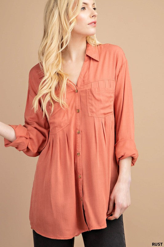 Pleated Button Down Blouse - rust