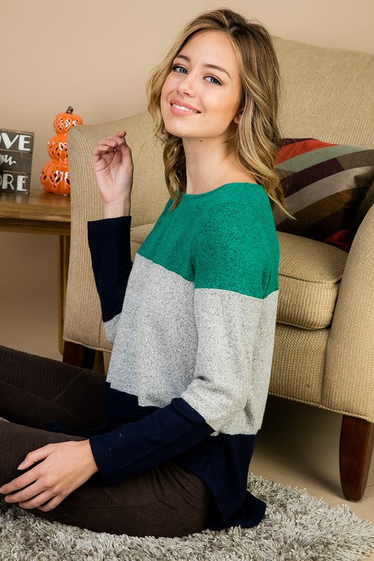 Colorblock Front Knot Top