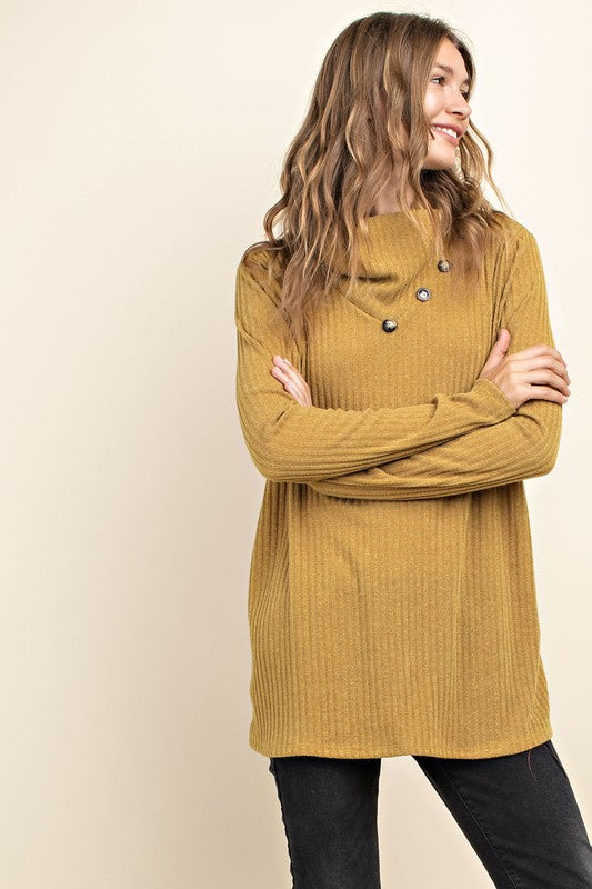 Sweater Cowl Neck (with buttons) - mustard