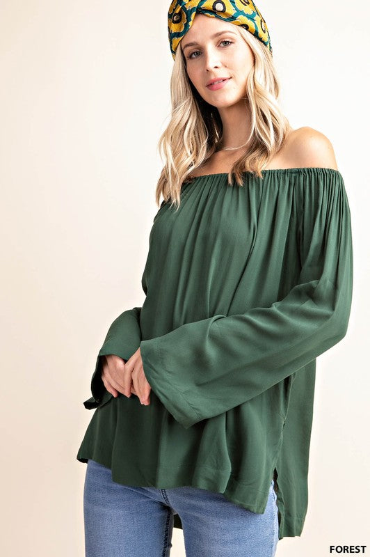 Off-the-Shoulder Flowy Top - forest green