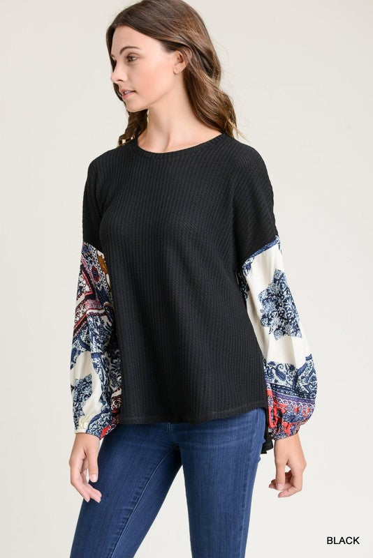 Bubble Over Top - waffle knit