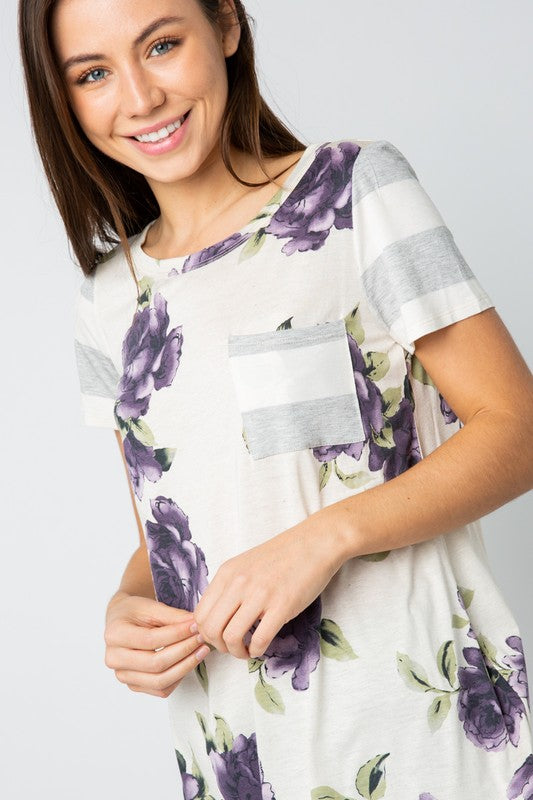 Floral Striped Pocket Tee - purple/white/grey