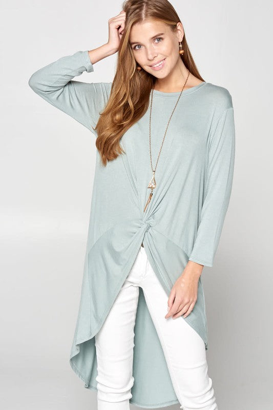 High-Low Knot Top - blue