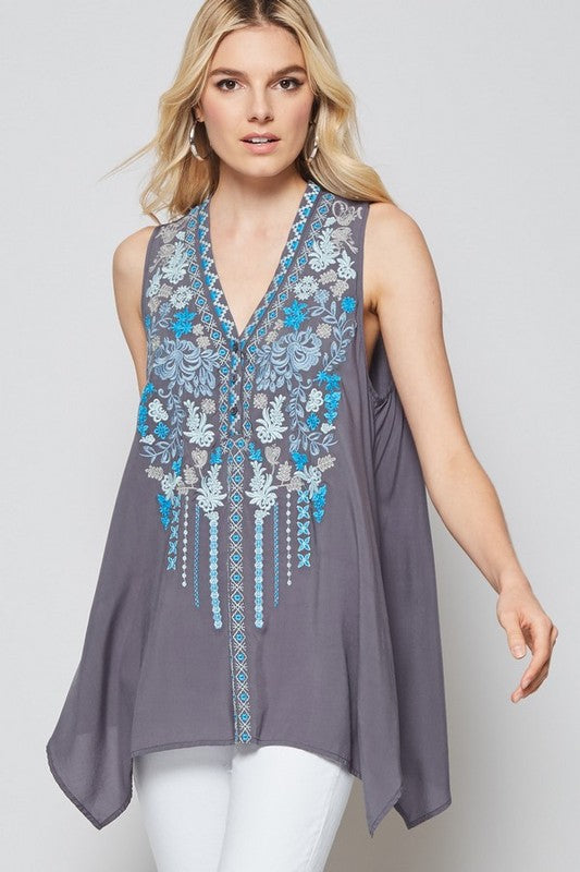Embroidered Tunic - dark grey