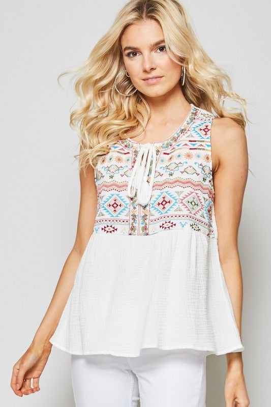 Embroidered Tassel Tie Top - ivory