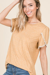 Tulip Sleeve Top - mustard and olive