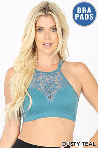 Lace Cutout Bralette - dusty teal