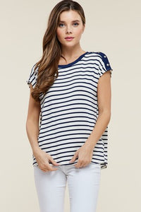 Boat Neck Striped Shirt - navy/ivory