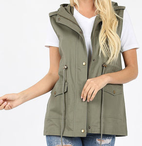 Military Hoodie Vest - grey and light olive