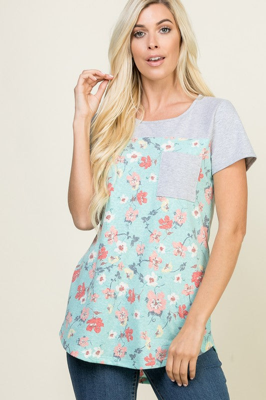 Floral Contrast Short-Sleeve - mint
