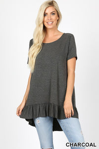 Ruffle Bottom High-Low Top - charcoal and eggplant